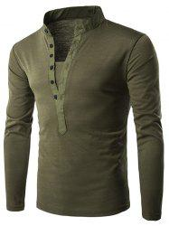 Stand Collar Long Sleeve Solid T-shirt -