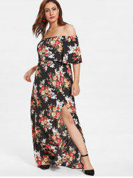 Plus Size Floral Off Shoulder Maxi Dress -