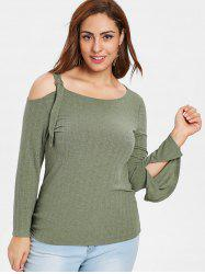 Plus Size Straps Open Shoulder Top -