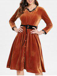 Long Sleeve Half Button Velvet Dress -