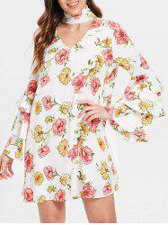 Robe Flare Sleeve Choker Neck Floral Dress -