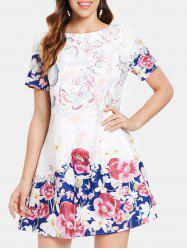 Butterfly and Flower Print Shift Dress -