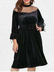Plus Size Mesh Yoke Velvet Dress -