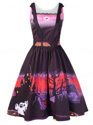 Halloween Printed Vintage Swing Dress -