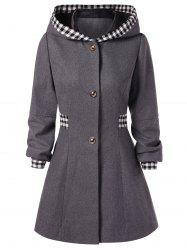 Checked Hooded Woolen Coat -