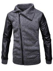 Slant Zipper Placket Faux Leather Sleeve Jacket -