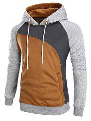 Casual Color Blocking Pullover Hoodie -