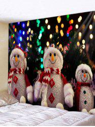 Christmas Snowman Family Wall Tapestry Decor -