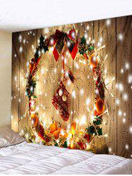 Christmas Wreath Stocking Print Wall Tapestry Decor -