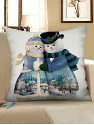 Christmas Snowman Couple Print Pillowcase -
