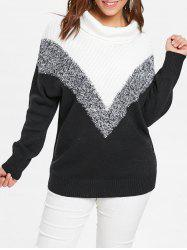 Plus Size Geometric Turtleneck Sweater -