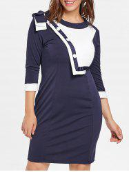Plus Size Two Tone Buttoned Dress -