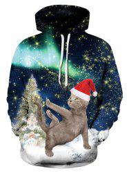 Plus Size Christmas Cat Print Hoodie -