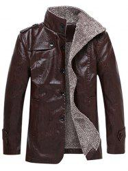 Epaulet Design Stand Collar Single Breasted Coat -