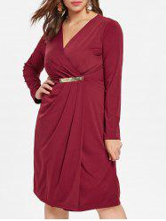 Plus Size V Neck High Slit Dress -