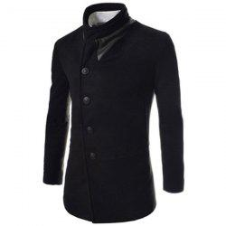 Trendy Slimming Stand Collar Long Sleeves Single-Breasted Design Solid Color Men's Long Woolen Overcoat -