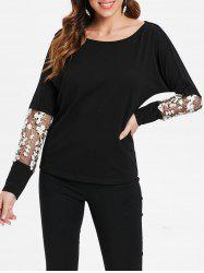 Floral Embroidery Insert Full Sleeve T-shirt -