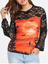 Lace Sleeve Plus Size Printed Halloween T-shirt -