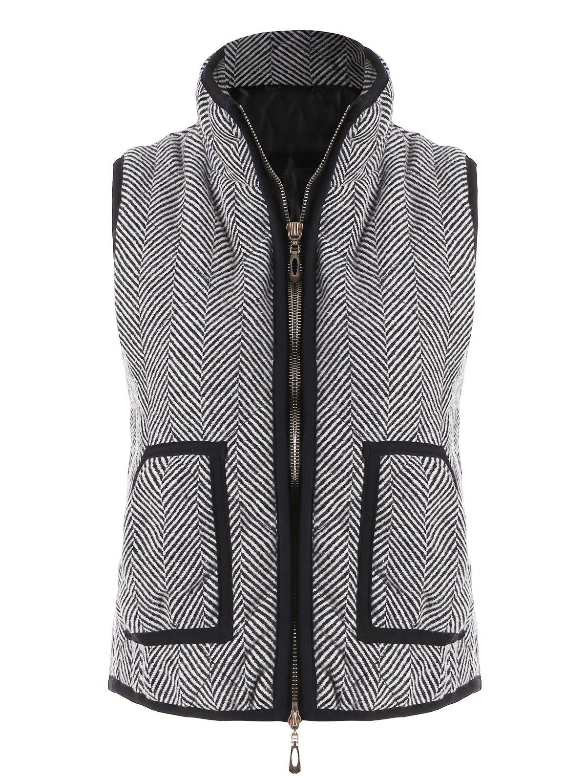 Store Zip Up Herringbone Vest with Pockets