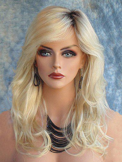 Long Inclined Bang Colormix Slightly Curly Synthetic Wig