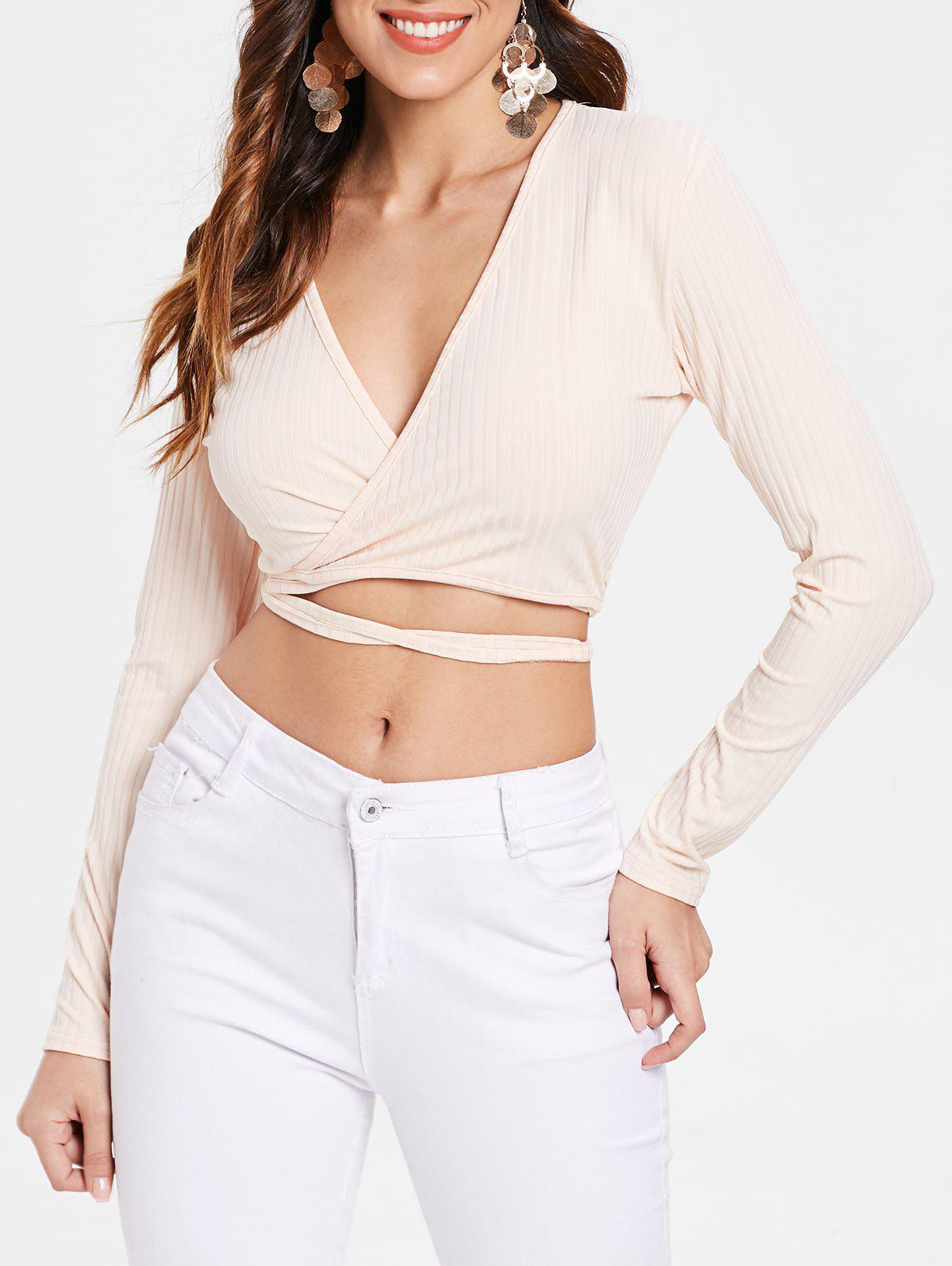 bfc271b3cdf753 62% OFF   2019 Ribbed Wrap Tie Long Sleeve Crop Top