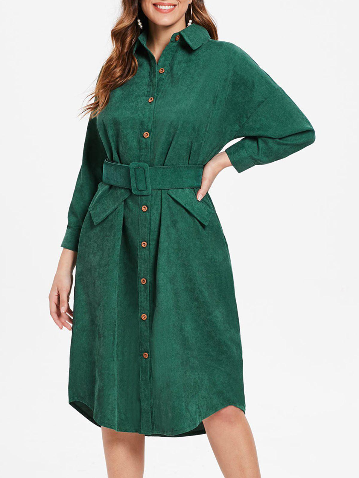 Hot Cuff Sleeve Belted Corduroy Dress