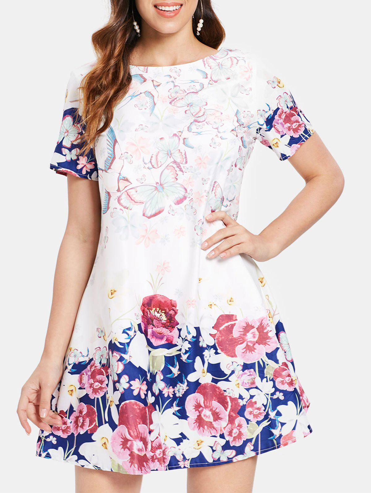 Latest Butterfly and Flower Print Shift Dress
