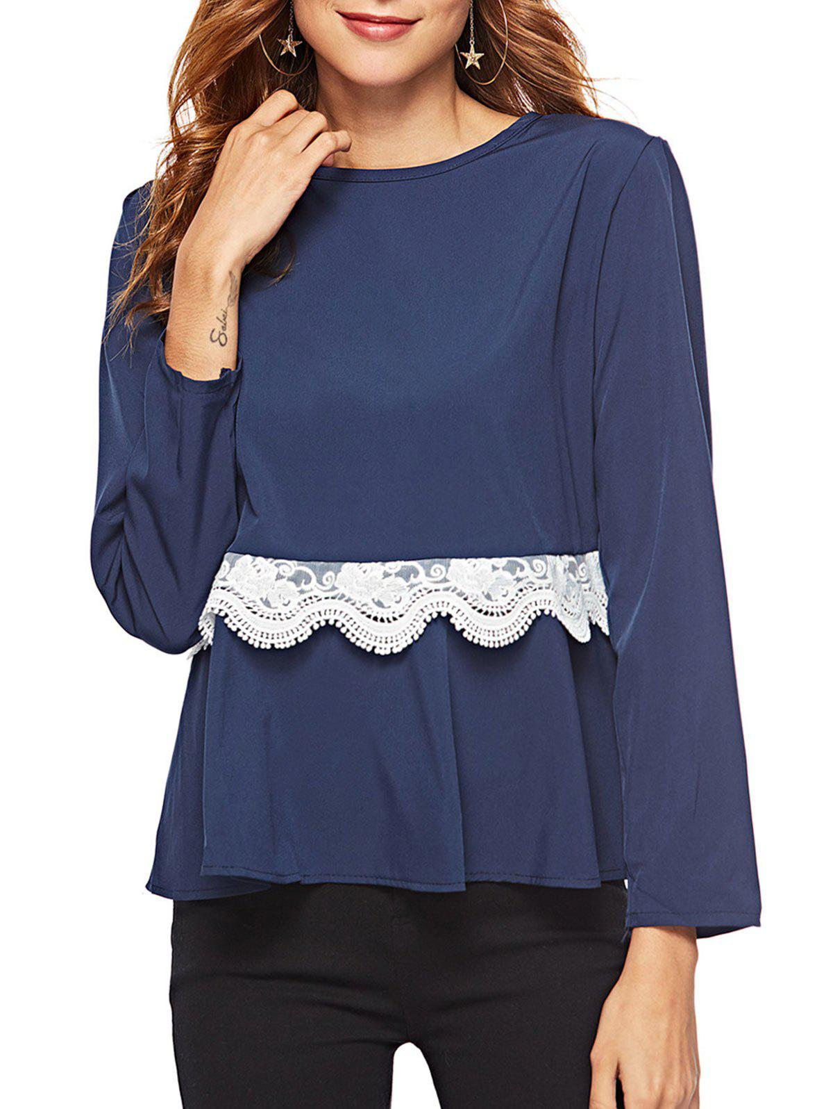 Shops Lace Panel Peplum Top