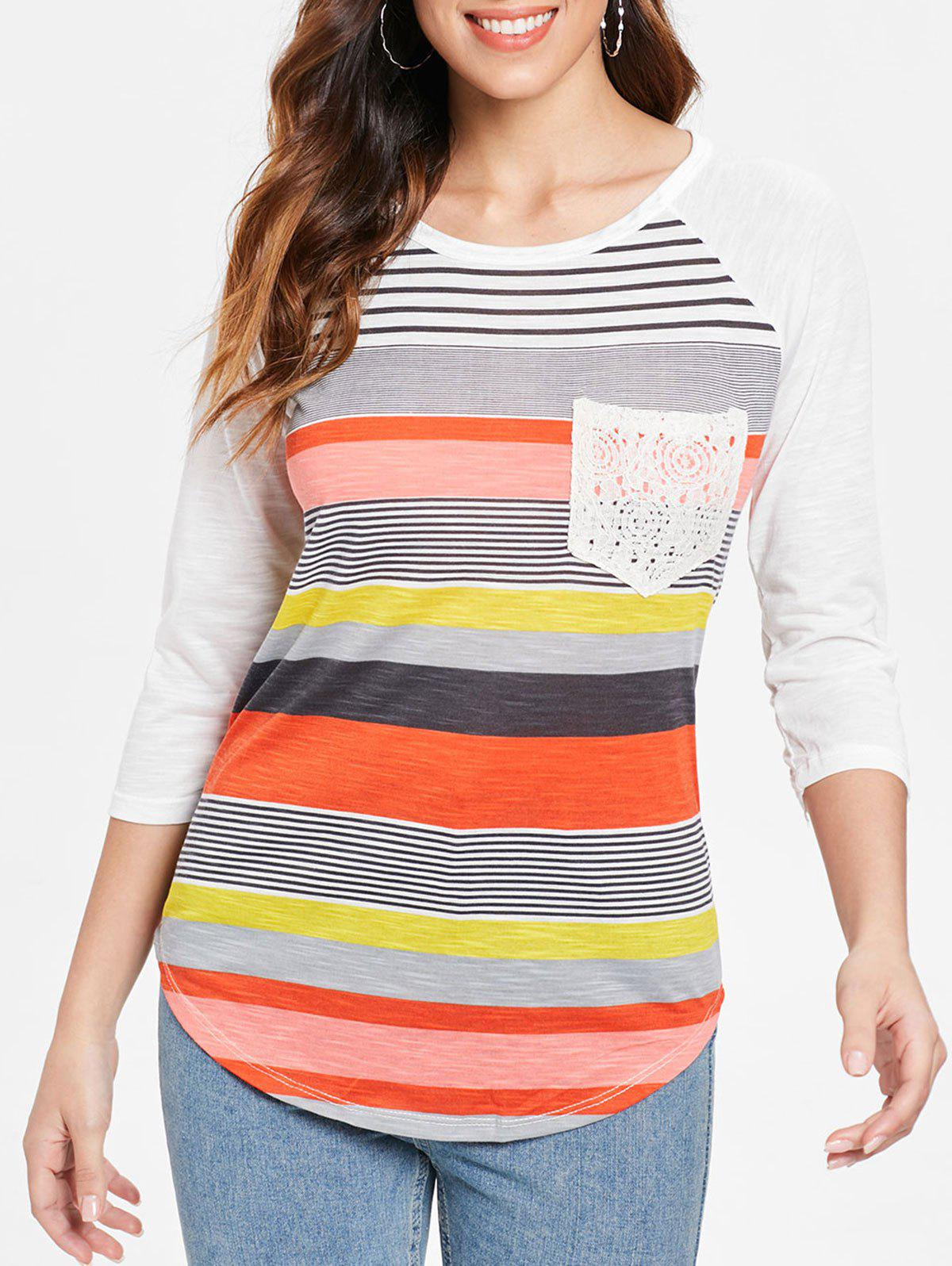 Unique Trendy Striped Lace Spliced 3/4 Sleeve Irregular T-Shirt For Women