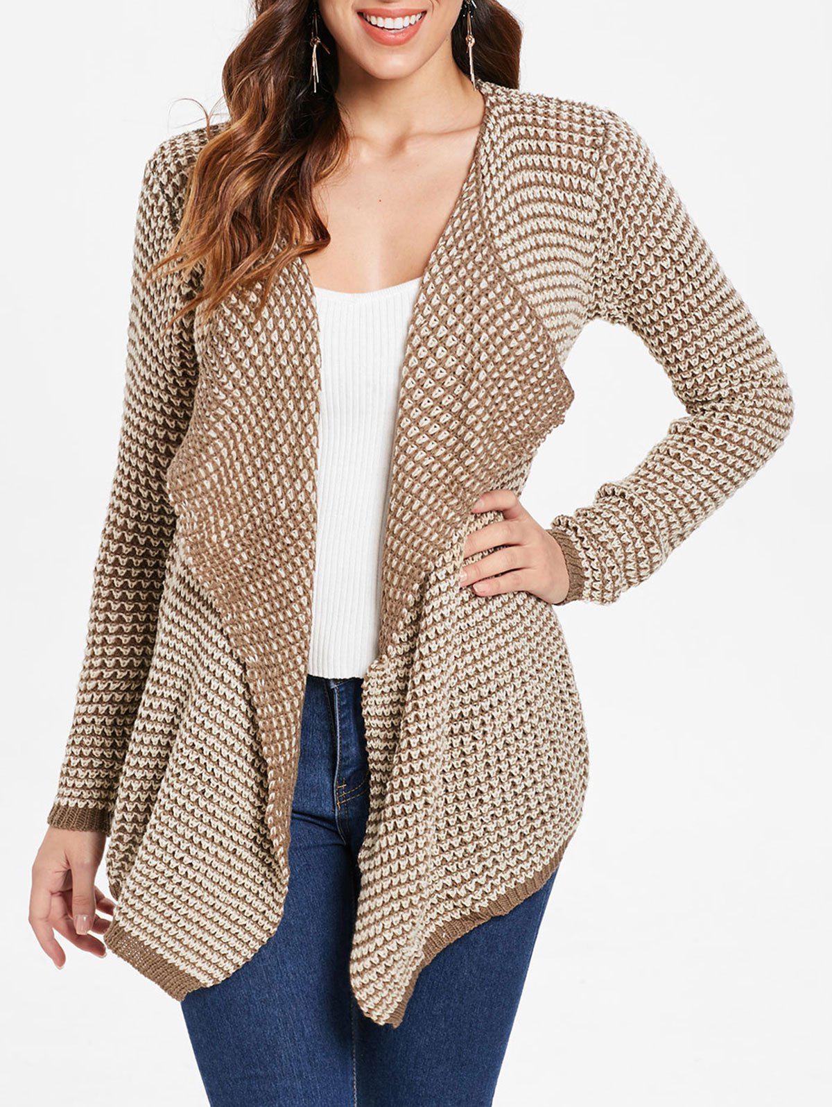 Chic Collarless Long Sleeve Knitted Drape Front Cardigan