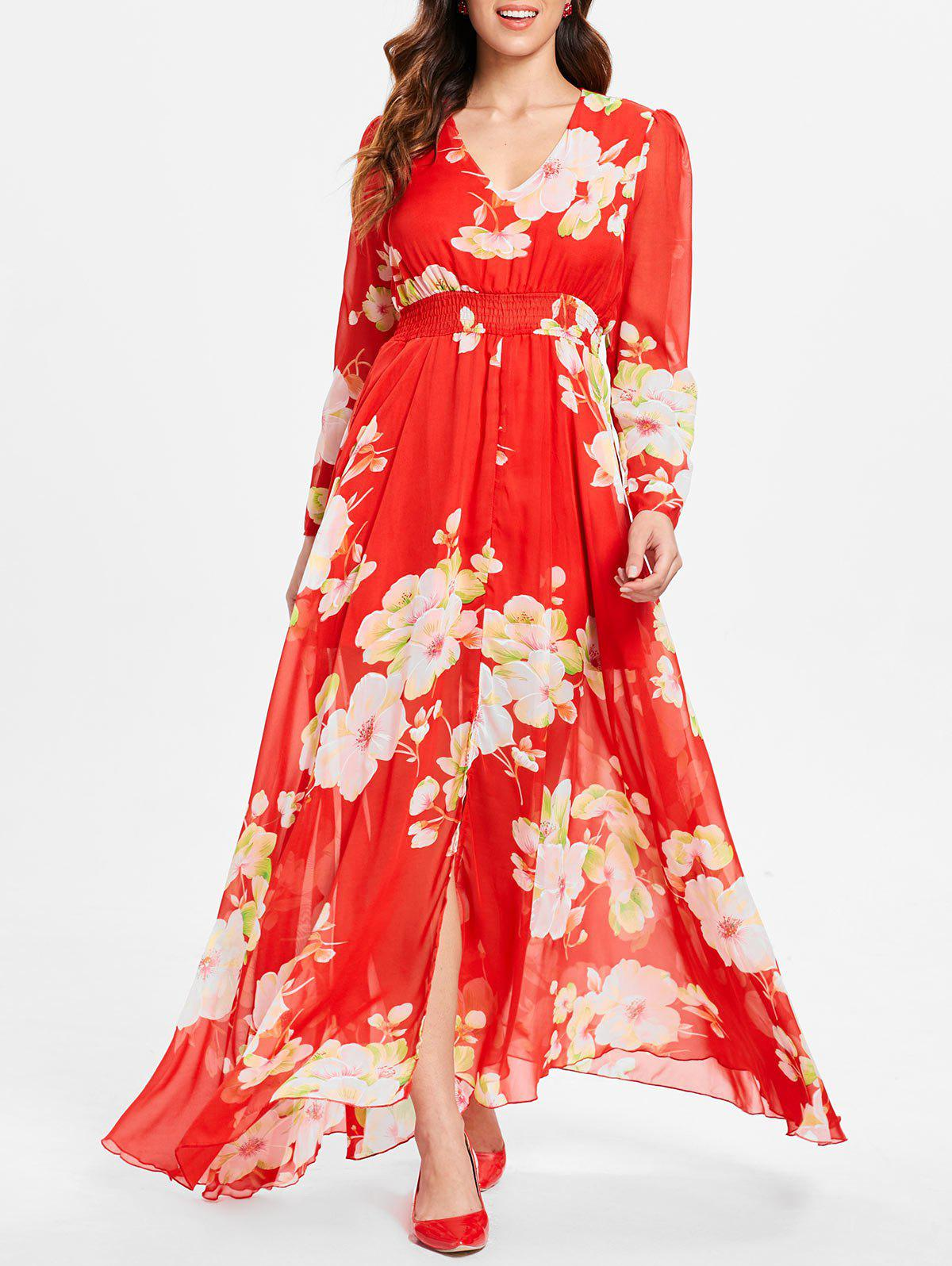Store Long Sleeve Slit Floral Maxi Dress
