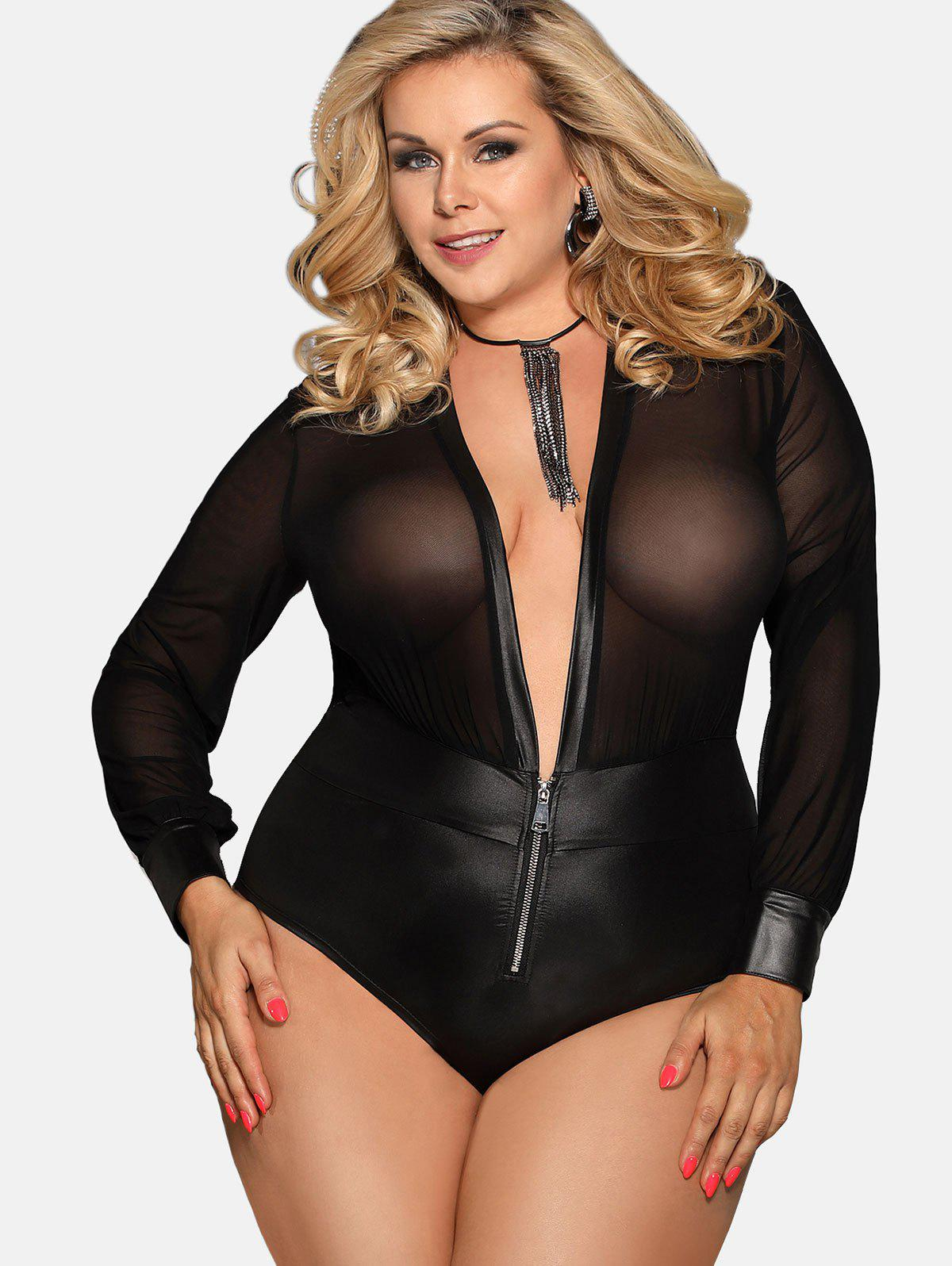 5ae23041f76 2019 Plunge Sheer Faux Leather Plus Size Teddy