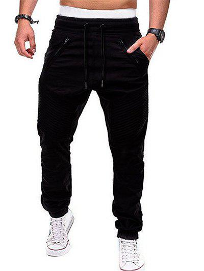 Sale Zippers Embellished Elastic Waist Jogger Pants