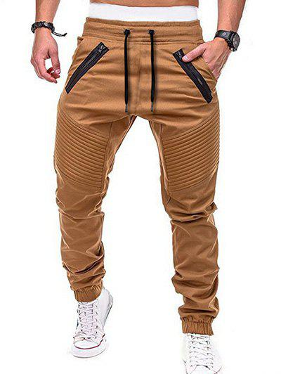 Shops Zippers Embellished Elastic Waist Jogger Pants