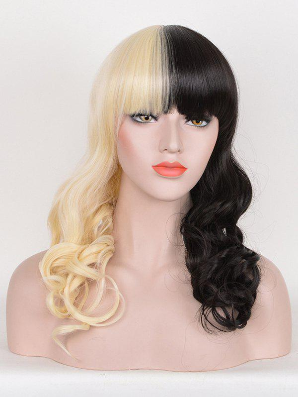 Latest Long Full Bang Two Tone Wavy Cosplay Synthetic Wig