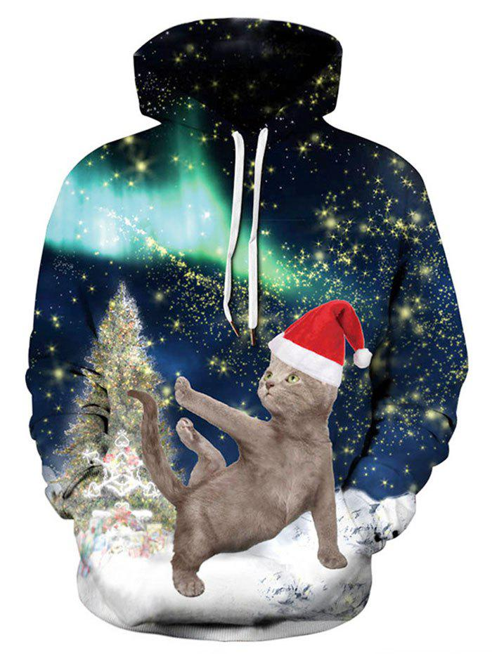 Buy Plus Size Christmas Cat Print Hoodie