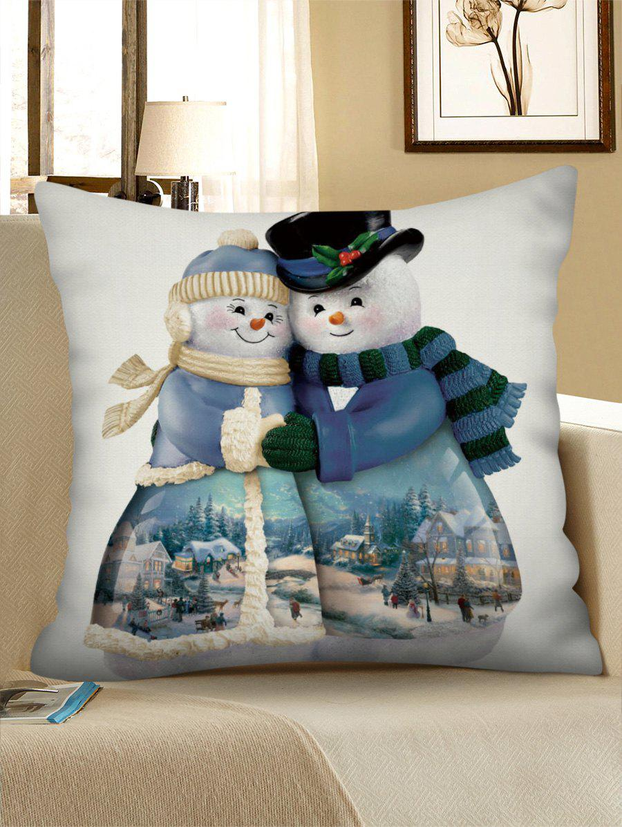 Fashion Christmas Snowman Couple Print Pillowcase