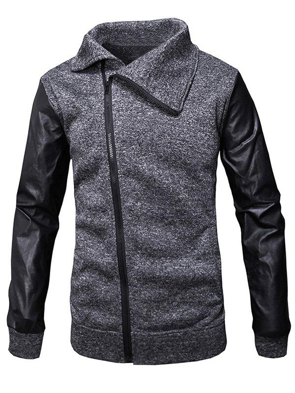 Cheap Slant Zipper Placket Faux Leather Sleeve Jacket