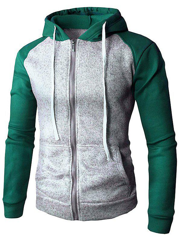 Outfit Casual Contrast Color Drawstring Hoodie