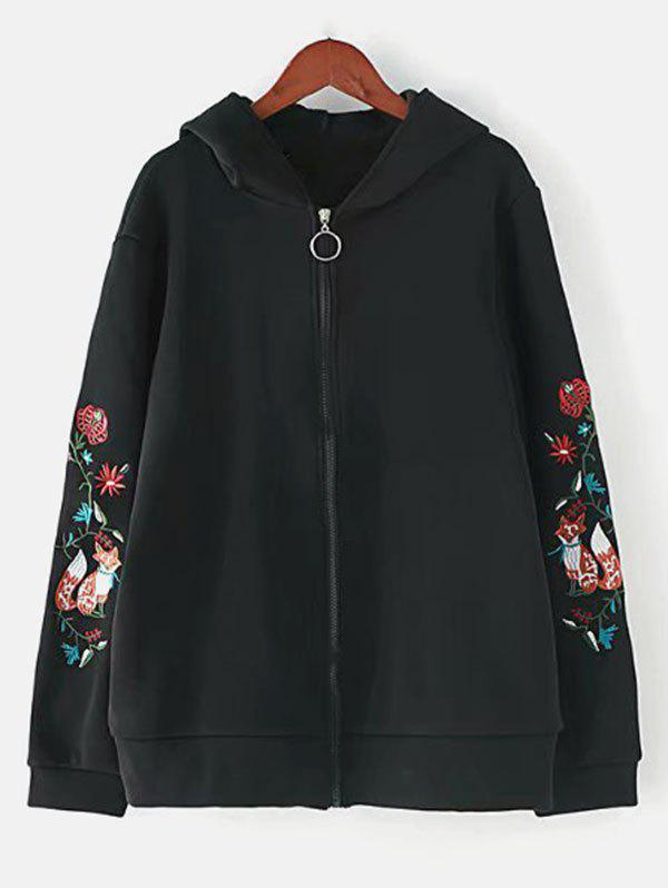 Shop Plus Size Embroidered Zipper Jacket