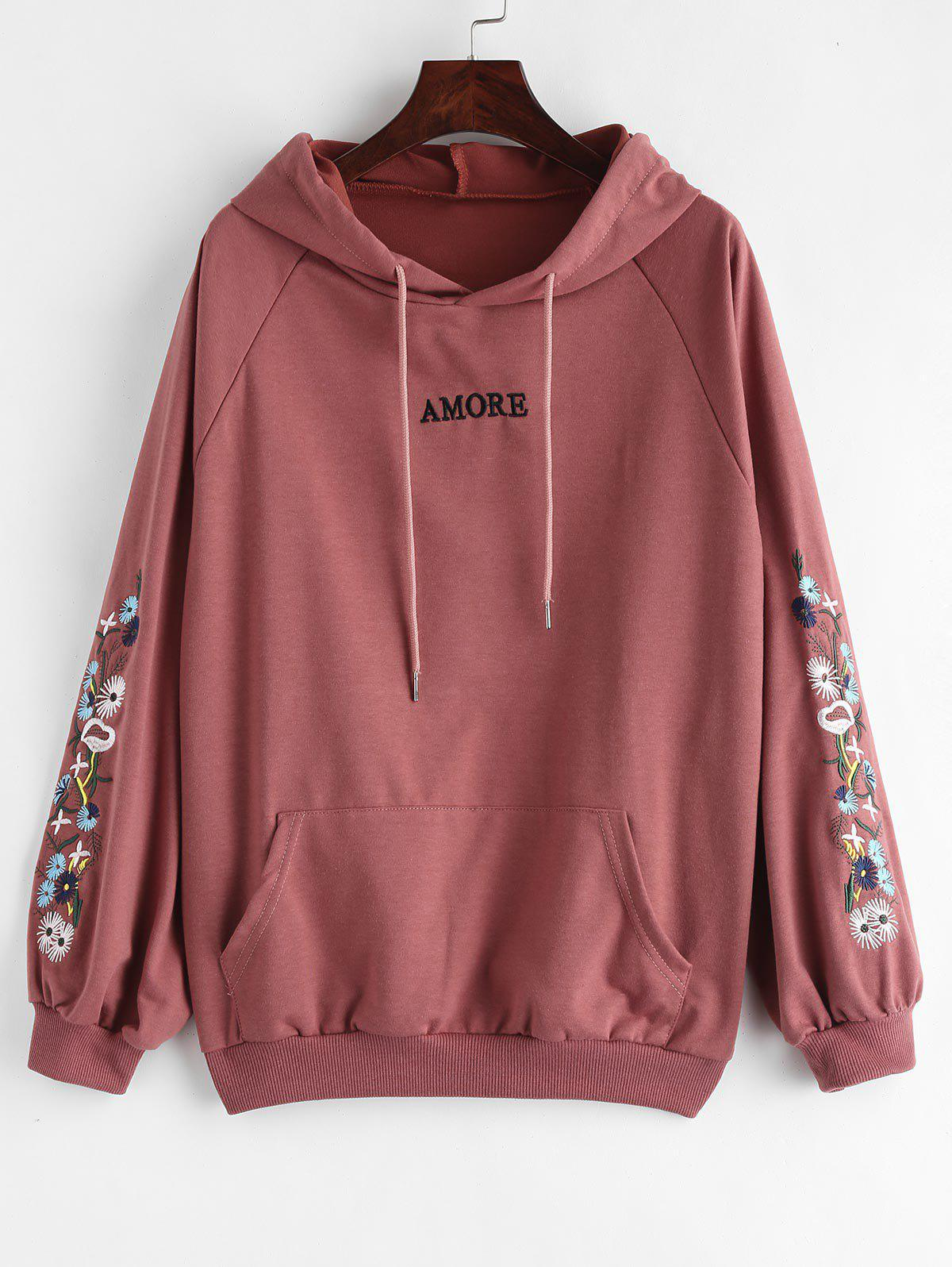 New Floral Letter Patched Drawstring Hoodie