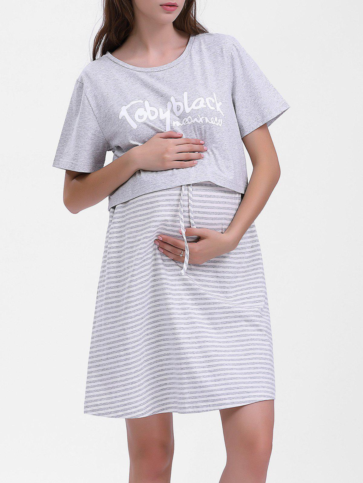 Sale Striped Maternity Sleeping Dress with Letter Tee