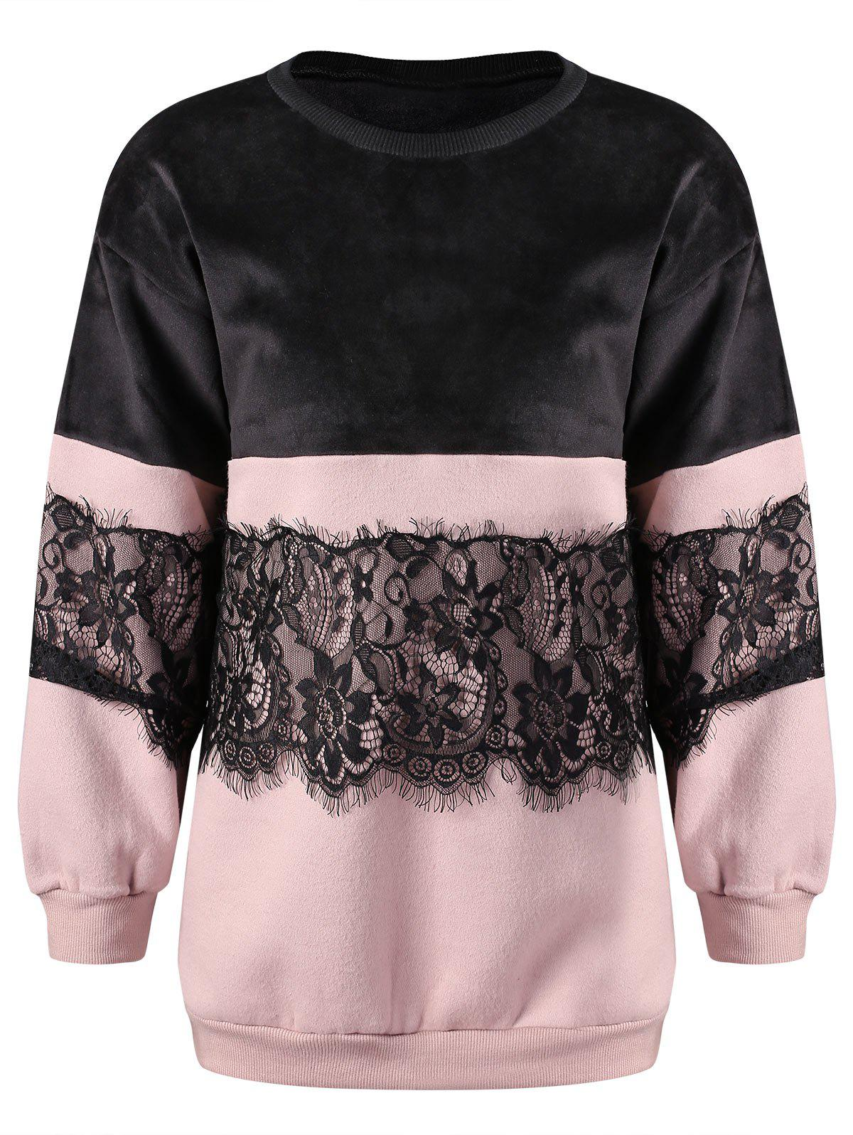 Store Lace and Velvet Panel Sweatshirt