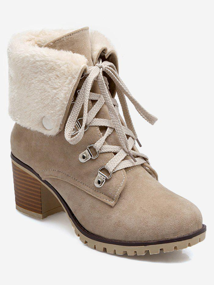 New Plus Size Fuzzy Fold Over Lacing Snow Boots