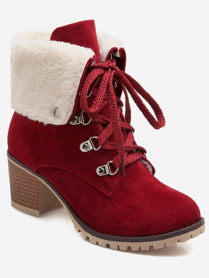 Outfit Plus Size Fuzzy Fold Over Lacing Snow Boots