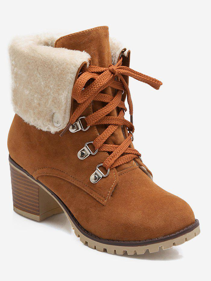 Sale Plus Size Fuzzy Fold Over Lacing Snow Boots