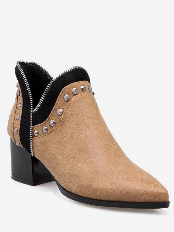 Affordable Plus Size Studded Chunky Heel Ankle Boots