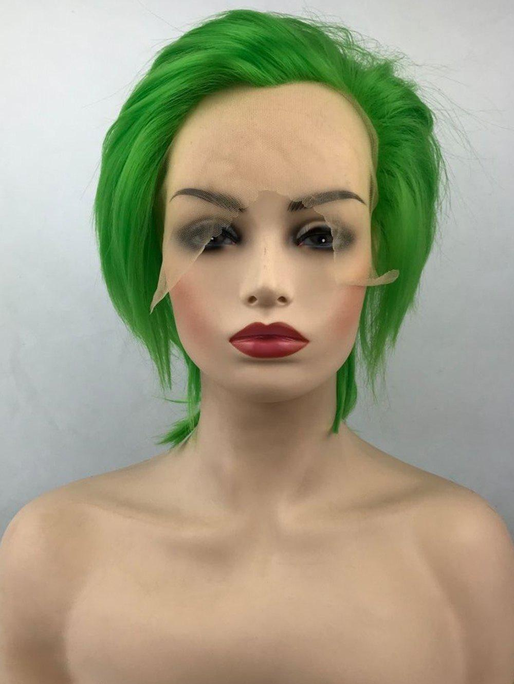 Unique Short Free Part Straight Cosplay Lace Front Synthetic Wig