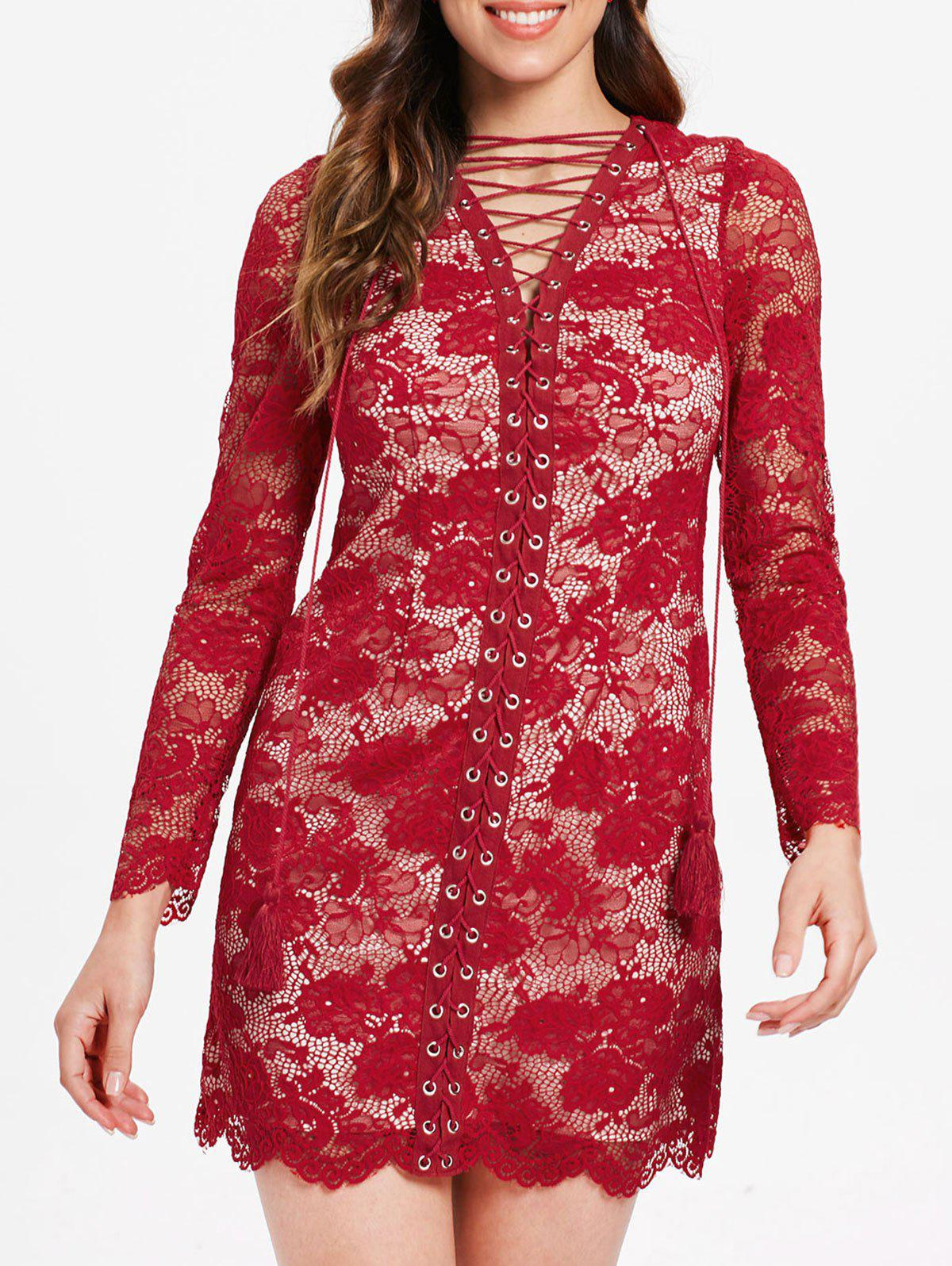 Shops Full Sleeve Criss Cross Lace Bodycon Dress