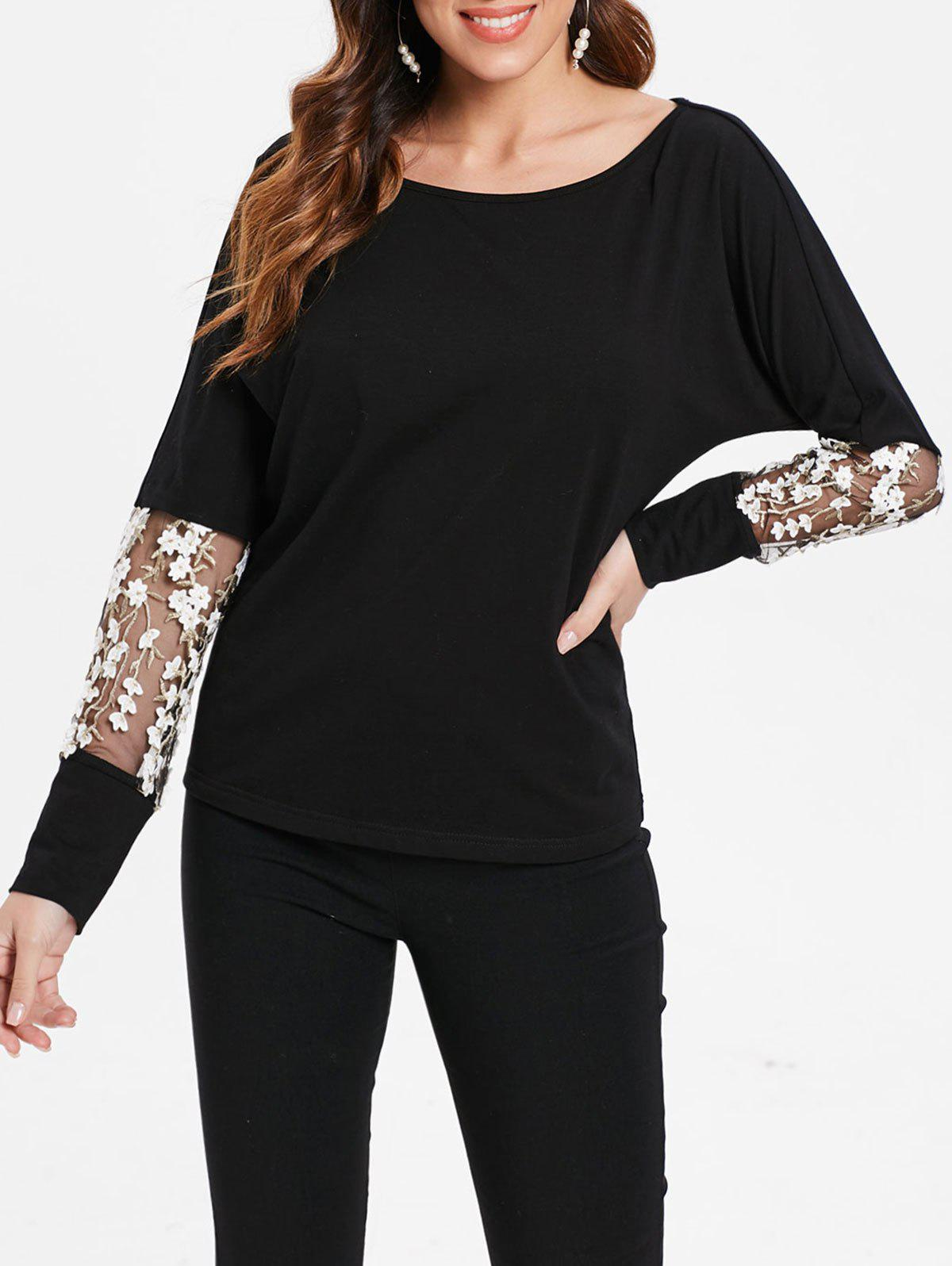 New Floral Embroidery Insert Full Sleeve T-shirt
